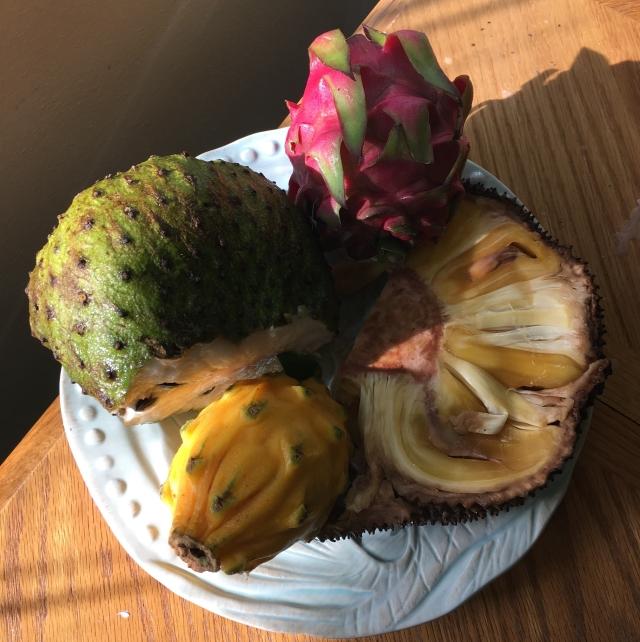 soursop, dragonfruit, jackfruit